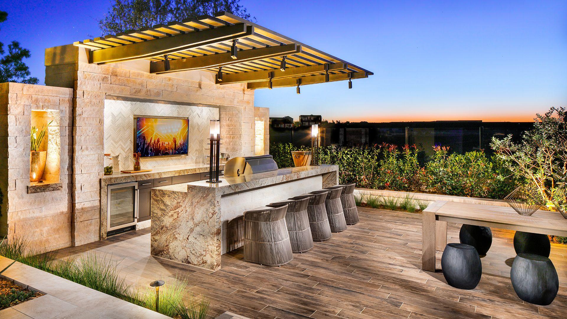 Palomar At Pacific Highlands Ranch Quick Delivery Home Castella Coastal Contemporary Backyard Bar Luxurious Backyard Backyard
