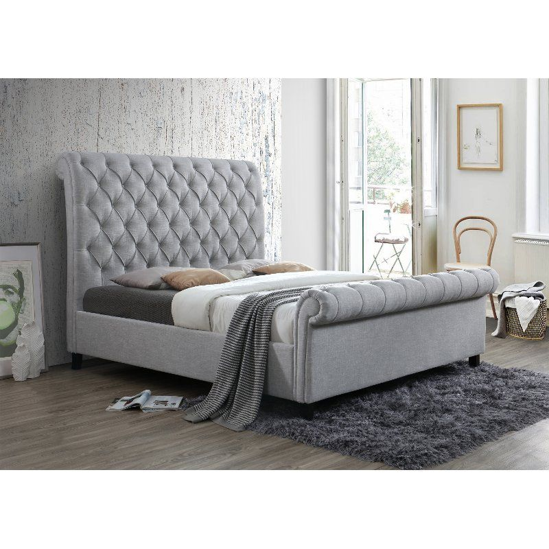 Traditional Gray King Upholstered Bed Kate In 2020 King