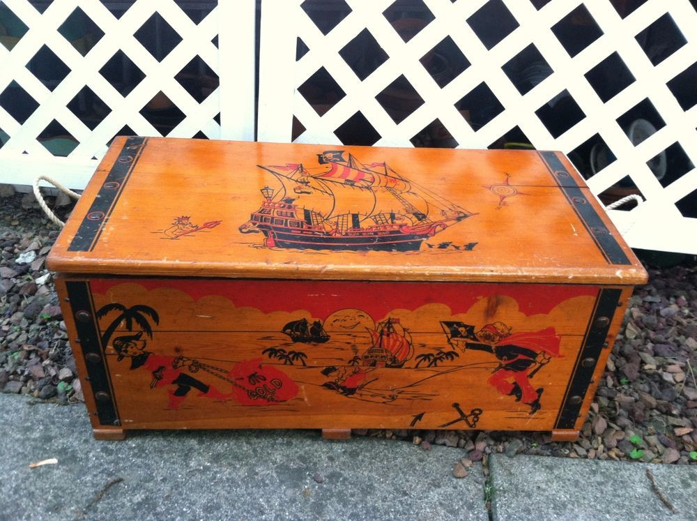 Vintage Pirate Ship And Pirate Style Toy Chest Kids Toy Trunk Cass Toys Rare Toy Trunk Pirate Fashion Toy Chest