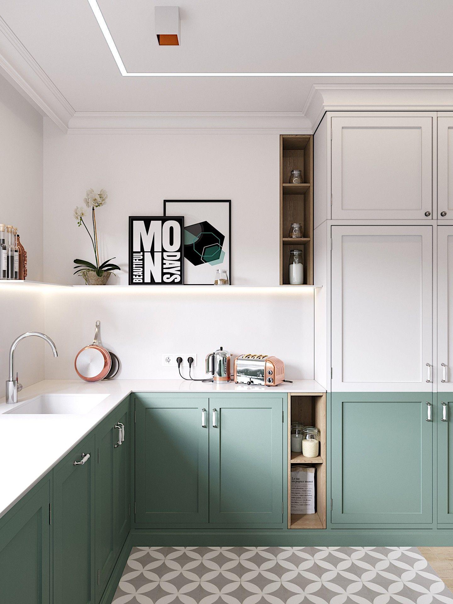 Décor do dia: armários bicolores na cozinha #allwhiteroom