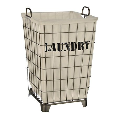 White Lined Wire Laundry Basket Wire Laundry Basket