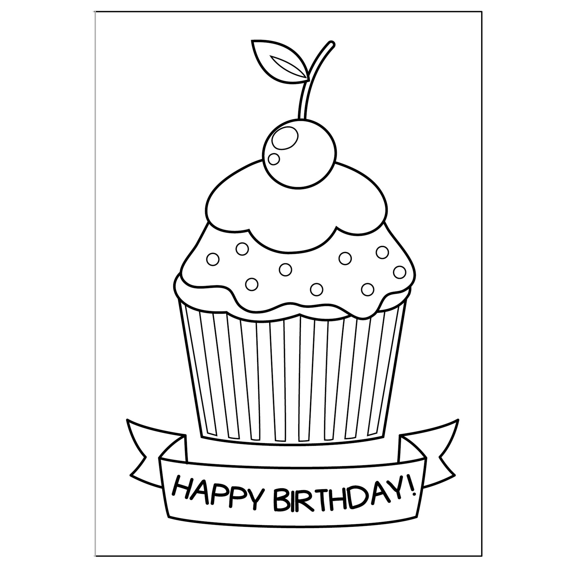 Cute Greeting Cards To Print And Color Happy Birthday Printable