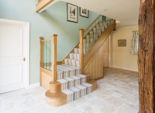 Oak and Glass Panel Staircase  Neville Johnson