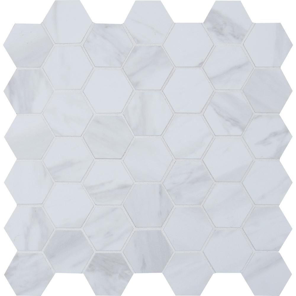 Msi Kolasus White Hexagon 12 In X 12 In X 10 Mm Matte Glazed Porcelain Mesh Mounted Mosaic Tile 1 Sq Ft Nhdkolwhi2x2hex Tiles Mosaic Tiles Ceramic Mosaic Tile