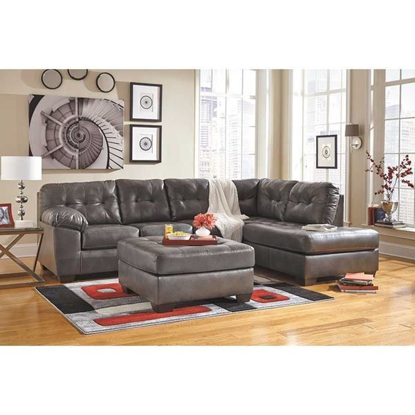 Alliston Gray 2pc Sectional W Raf Chaise Leather Living