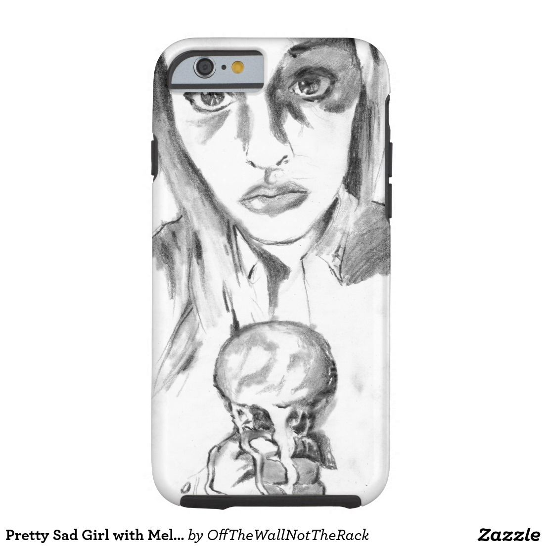 Pretty Sad Girl with Melting Ice Cream Cone Sketch Tough iPhone 6 Case