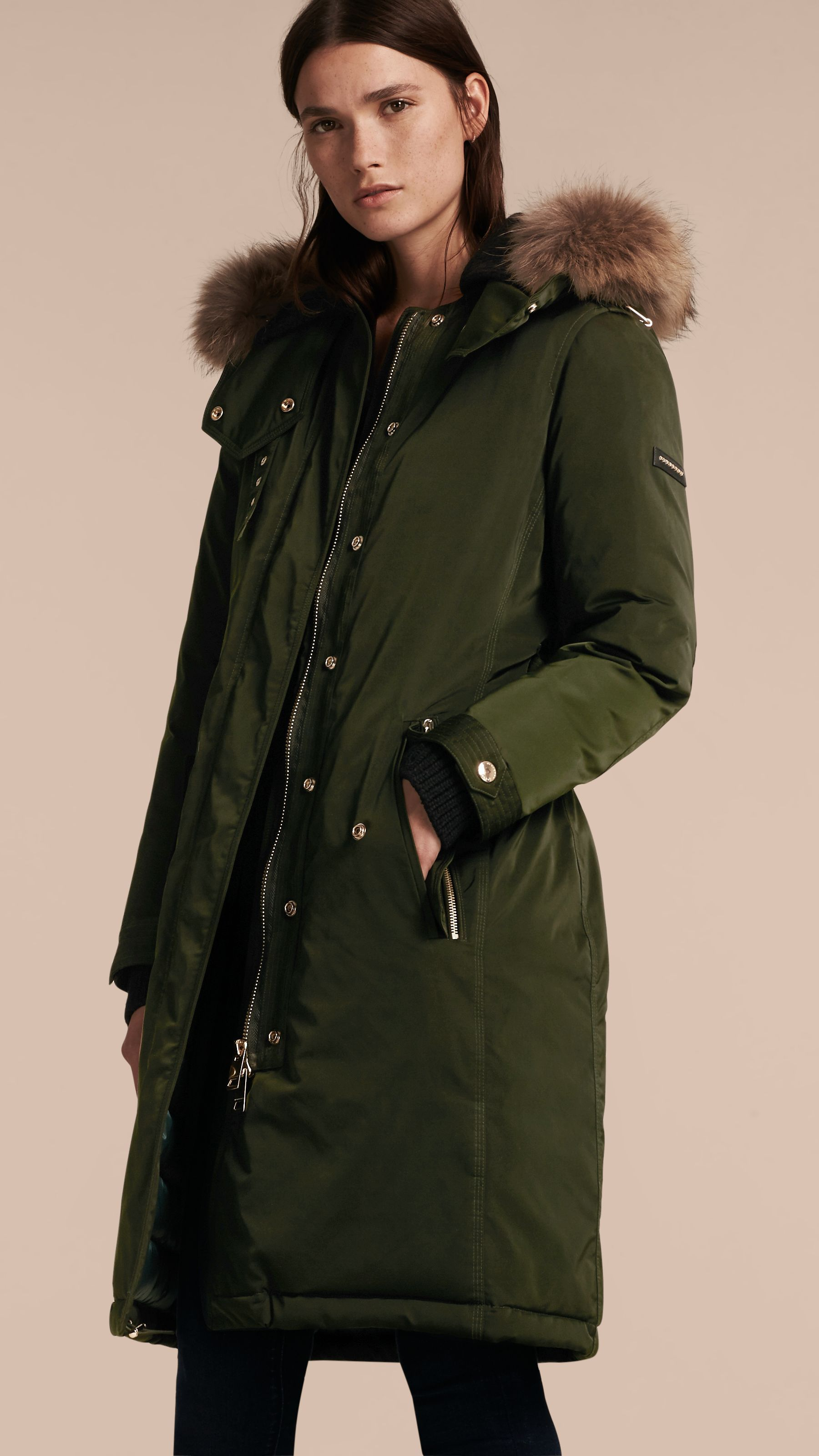 Down-filled Parka Coat with Detachable Fur Trim in Dark Cedar Green - Women  |