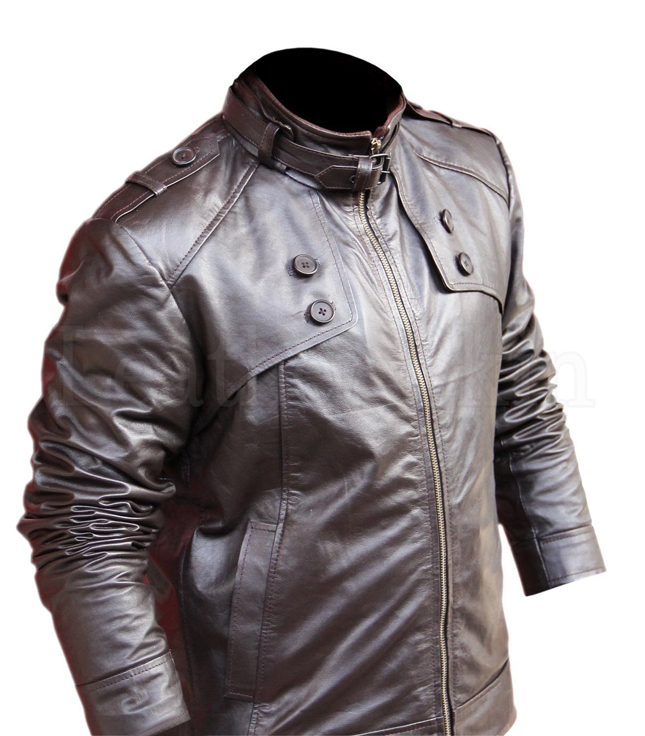 Leather Skin Men Brown Biker Motorcycle Genuine Leather Jacket With Chest Button Jackets Men Fashion Leather Jacket Trendy Jackets [ jpg ]