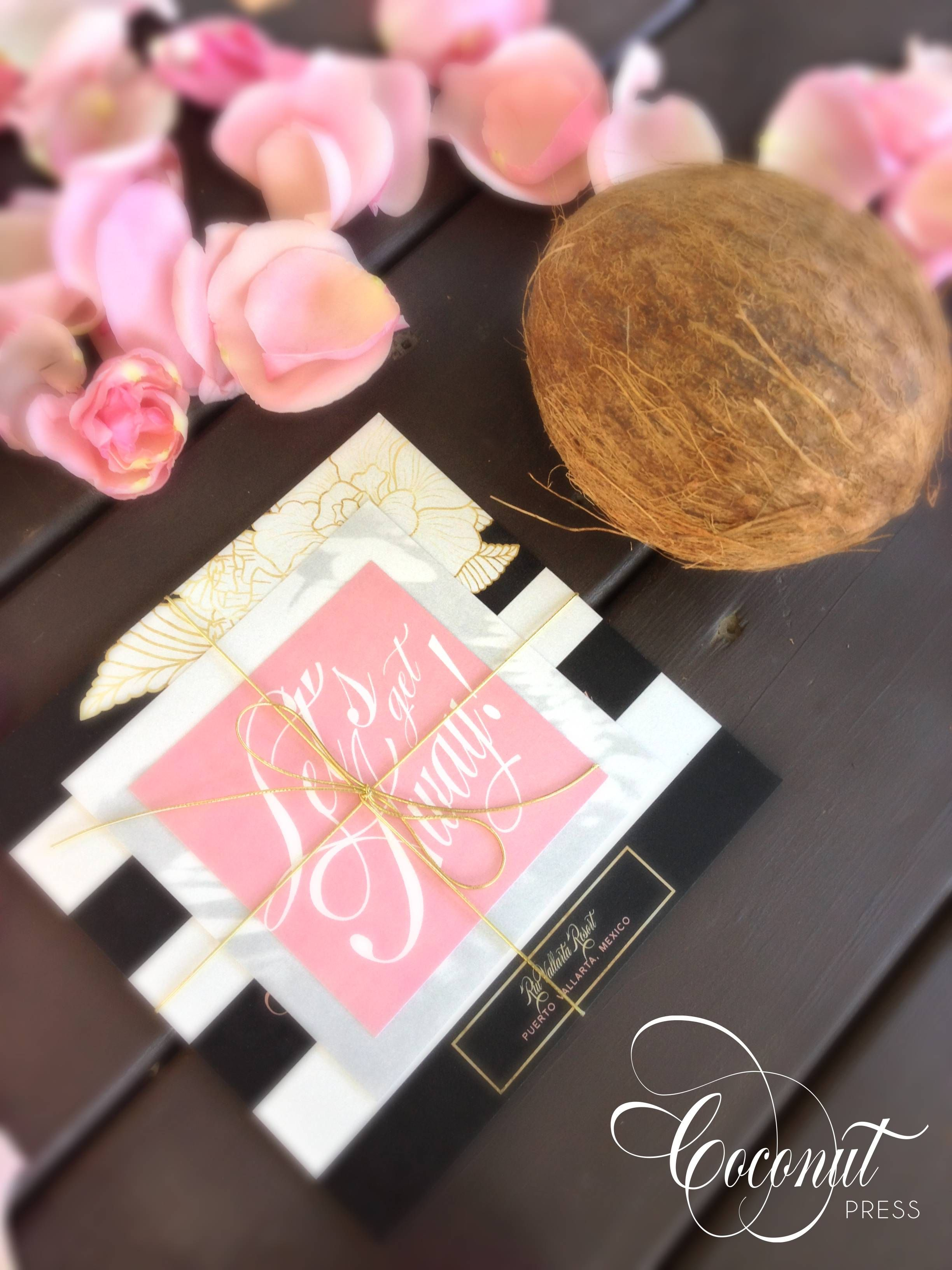 Tropical inspired destination wedding invitations // floral & gold ...