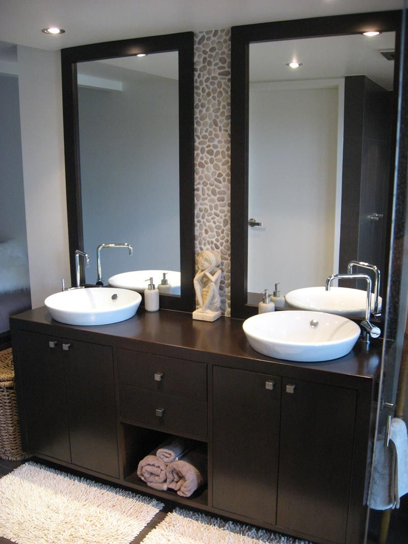 Modern bathroom mirror ideas - Modern Bathroom Design Ideas With Dark Wood Vanity Unit Http Bathroomdesignsideas