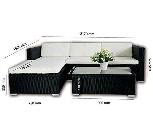 Amazon.de: POLY RATTAN Lounge Gartenset SCHWARZ Sofa Garnitur ...