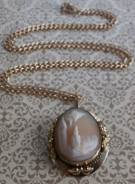 Victorian Shell Cameo Pendant Necklace #Vintage #Jewelry #Cameo #Victorian #Fashion #Style #Design