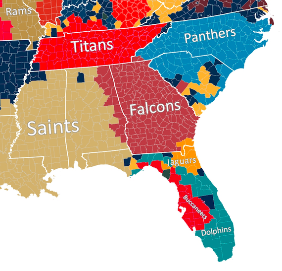 Here Is Every US Countys Favorite Football Team According To - Map of us baseball teams