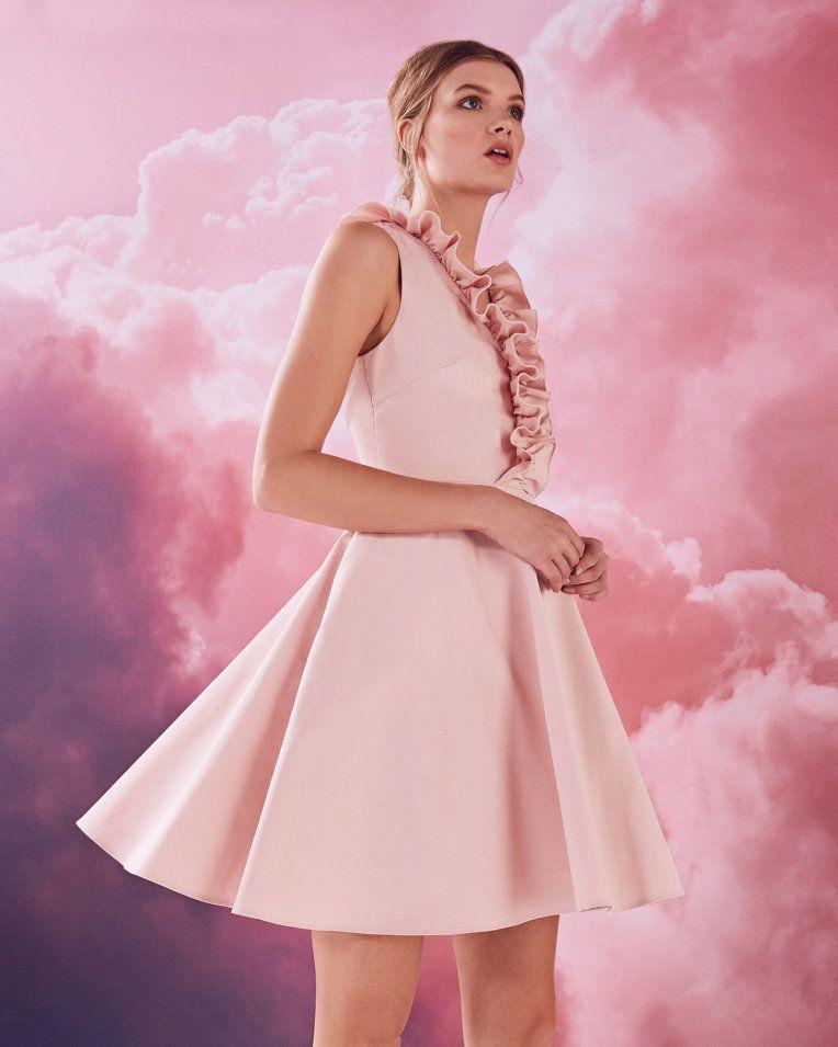 Ruffle V-neck cotton-blend skater dress - Dusky Pink | Dresses | Ted ...