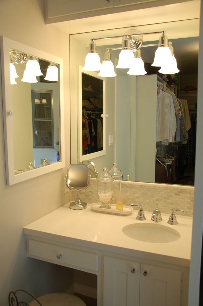 Classic Guest Bathroom Design For Small Space With Mounting White Wooden  Wash Stand Added With Makeup Vanity Below Bright Wall Lamps And Frameless  Mirror