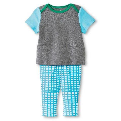 Oh Joy!® Newborn 2 Piece Tee and Pant Set - Blue Grid