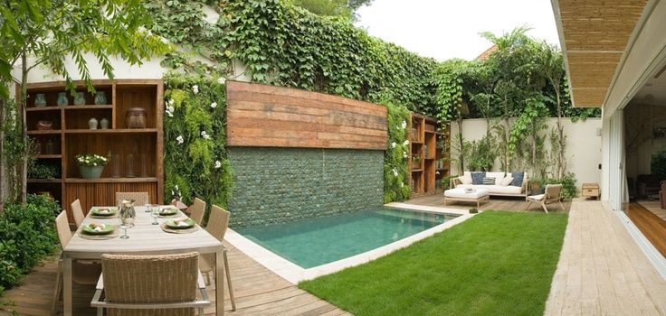 Dise o de patios peque os con piscina jardin pinterest for Piscinas para patios pequenos