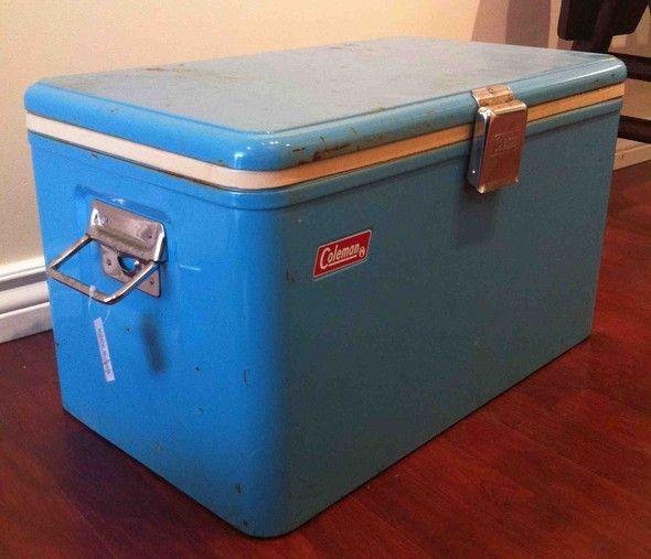 Vintage Coleman metal cooler in retro blue  | Garden Party