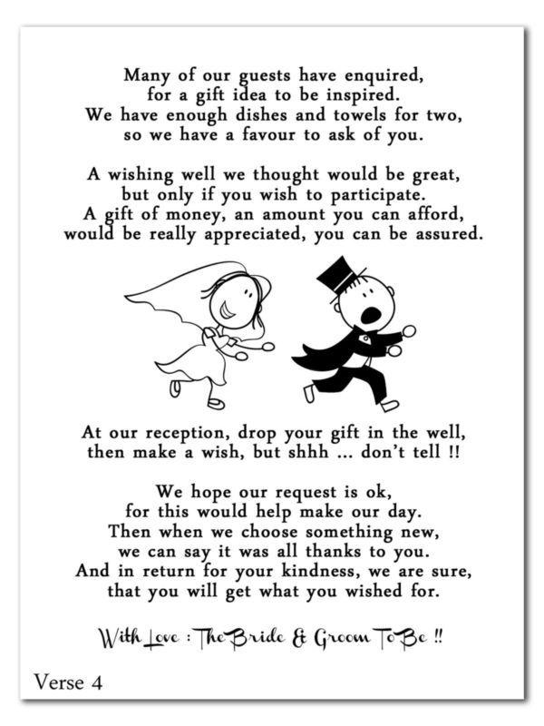 Wedding Cash Money Voucher Request Poems For Invites Cheap & Funny ...