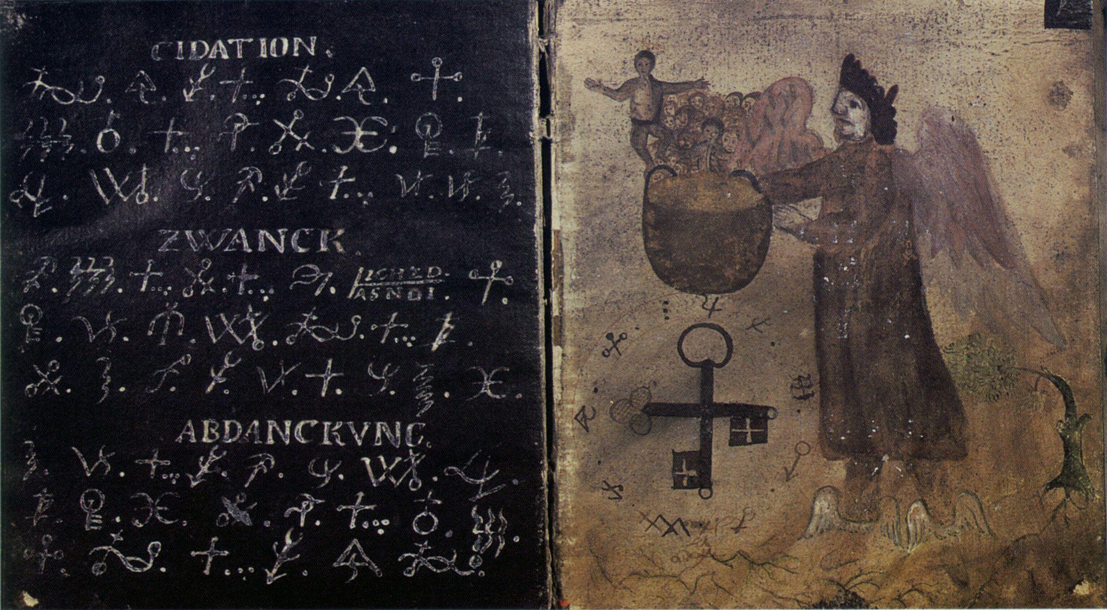 Sixth of ten spreads from an anonymous 18th-century Czech manuscript 'Höllenzwang.'