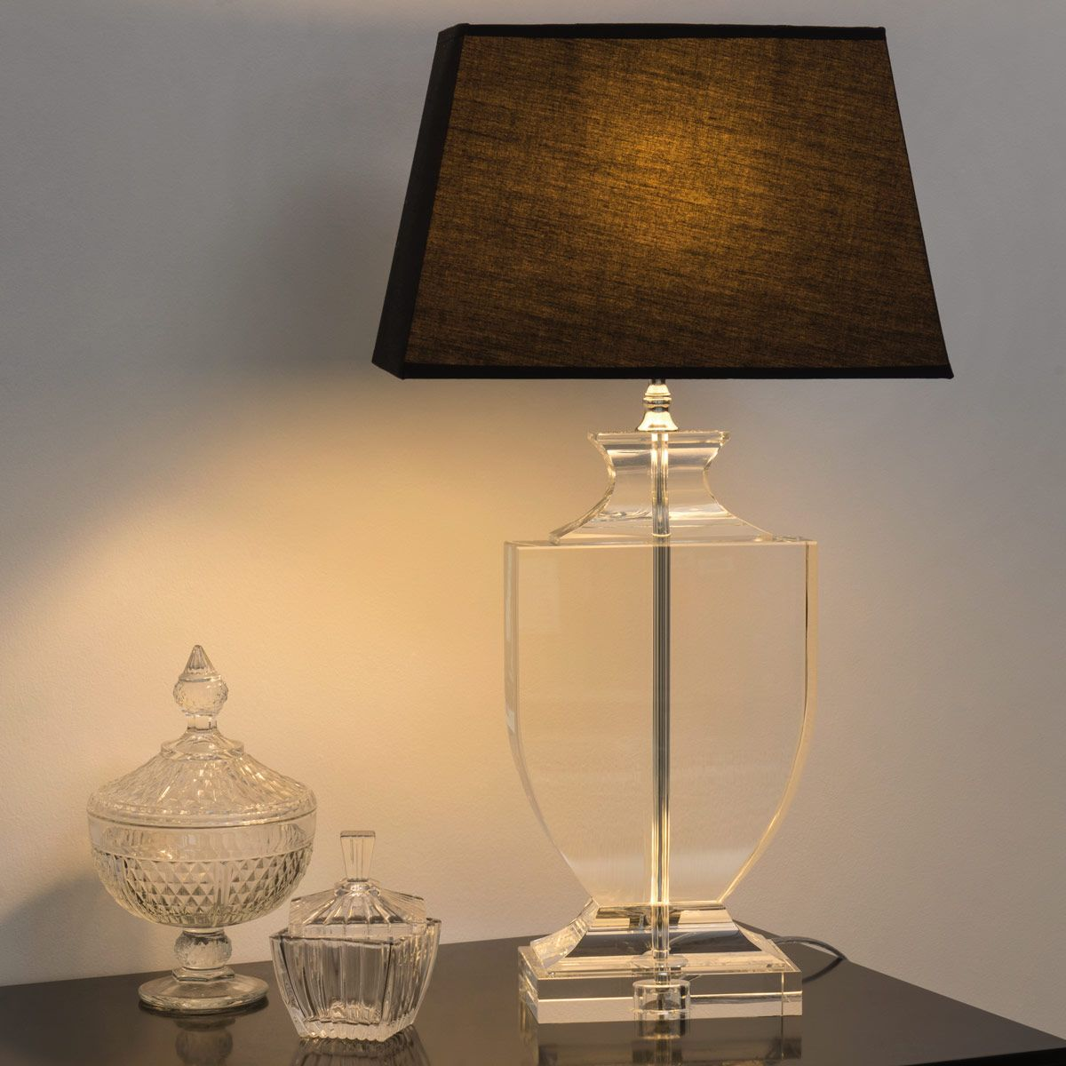 Lampe en cristal et abatjour en coton noire H 65 cm