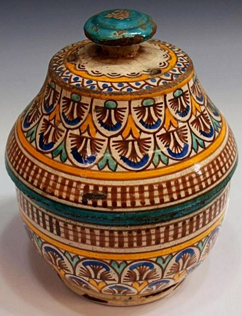 Antique Moroccan covered soup tureen.