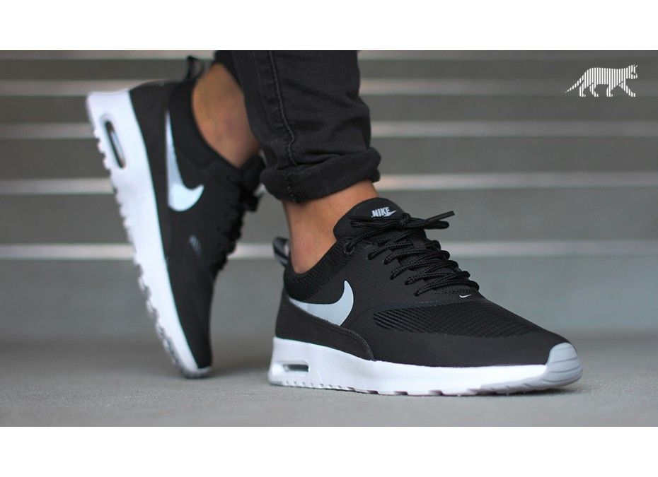 nike air max thea - womens black \/dark grey \/white cozy cafe osage