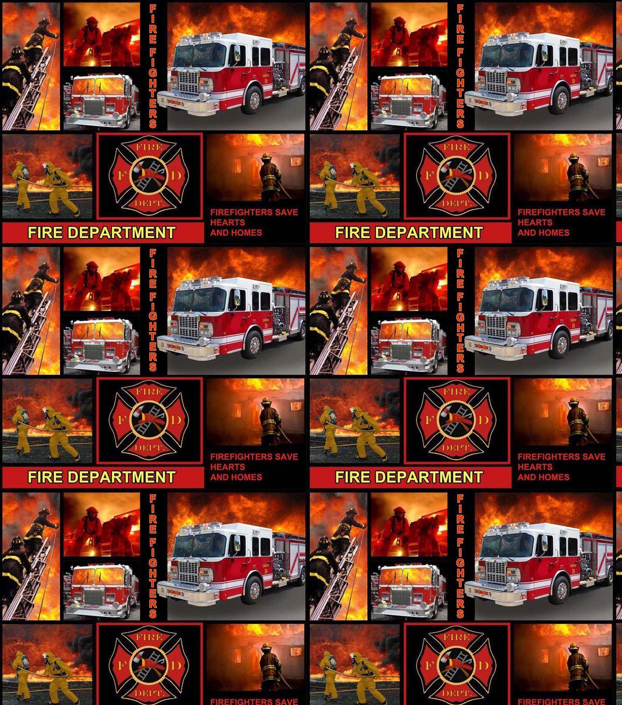 REALISTIC FIRETRUCKS BLOCKS FIREMEN SAVE LIVES RED BLACK COTTON FABRIC BTHY