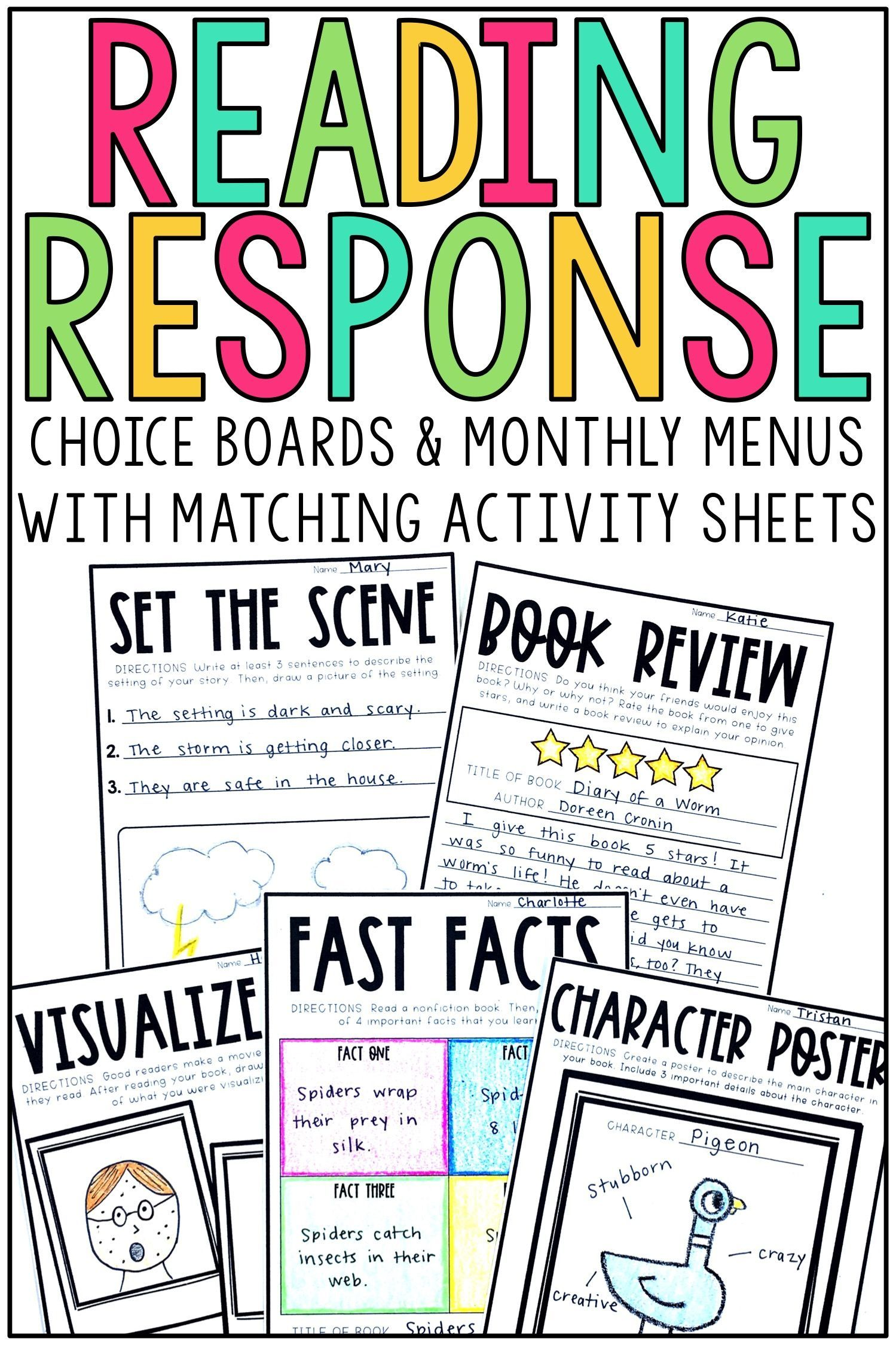 Reading Response Menus And Activities For Fiction And Non