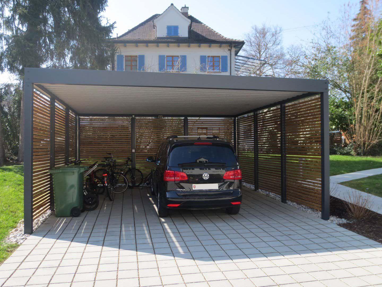 Doppel Carport Metall Holz anthrazit Basel · modern