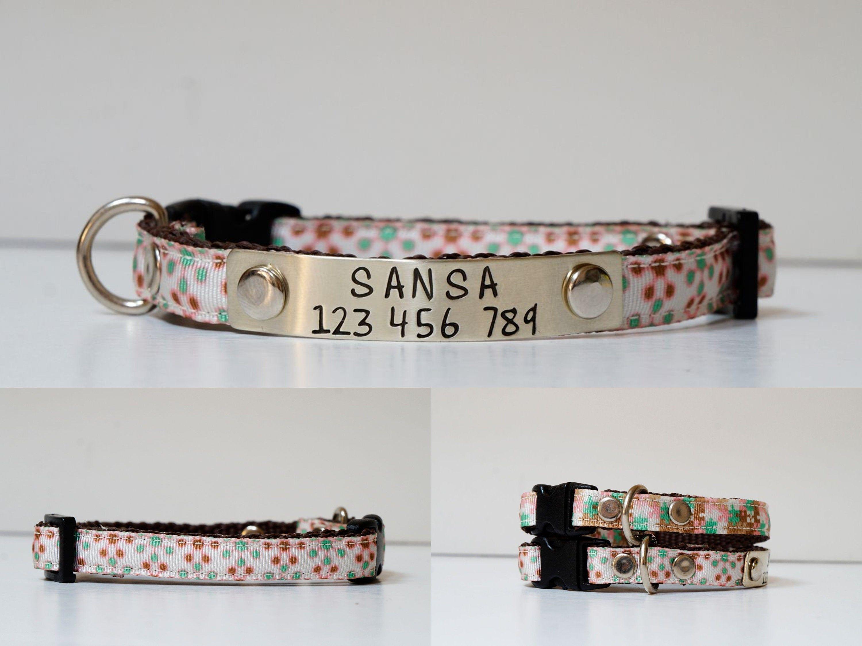 Cat Collar Kitten Collar Safety Cat Collar Personalized Collar Small Dog Collar Personalized Collar Designer Cat Collars Small Dog Collar
