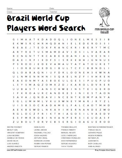 Free Printable Brazil World Cup Players Word Search | All Free ...