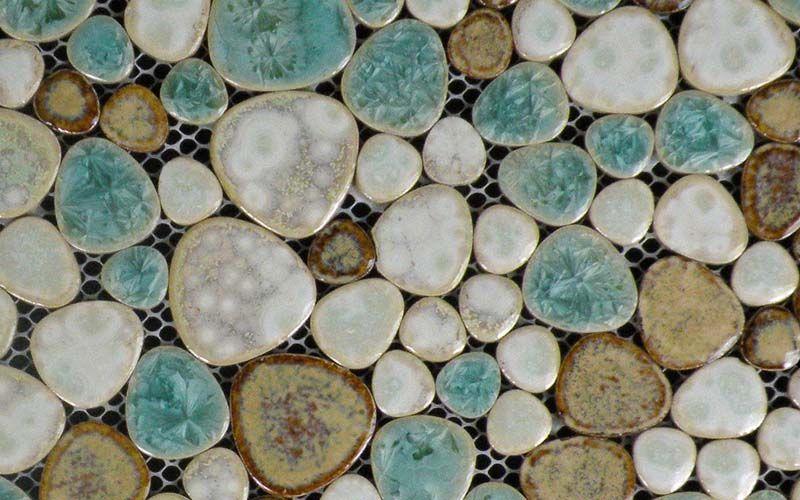 Glazed Porcelain Pebble Tile Backsplash Bathroom Shower Wall