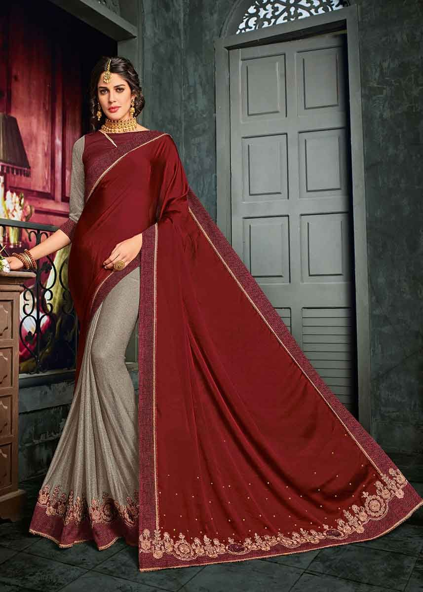 Women fashion saree maroon and grey color bright georgette and lycra pattern saree