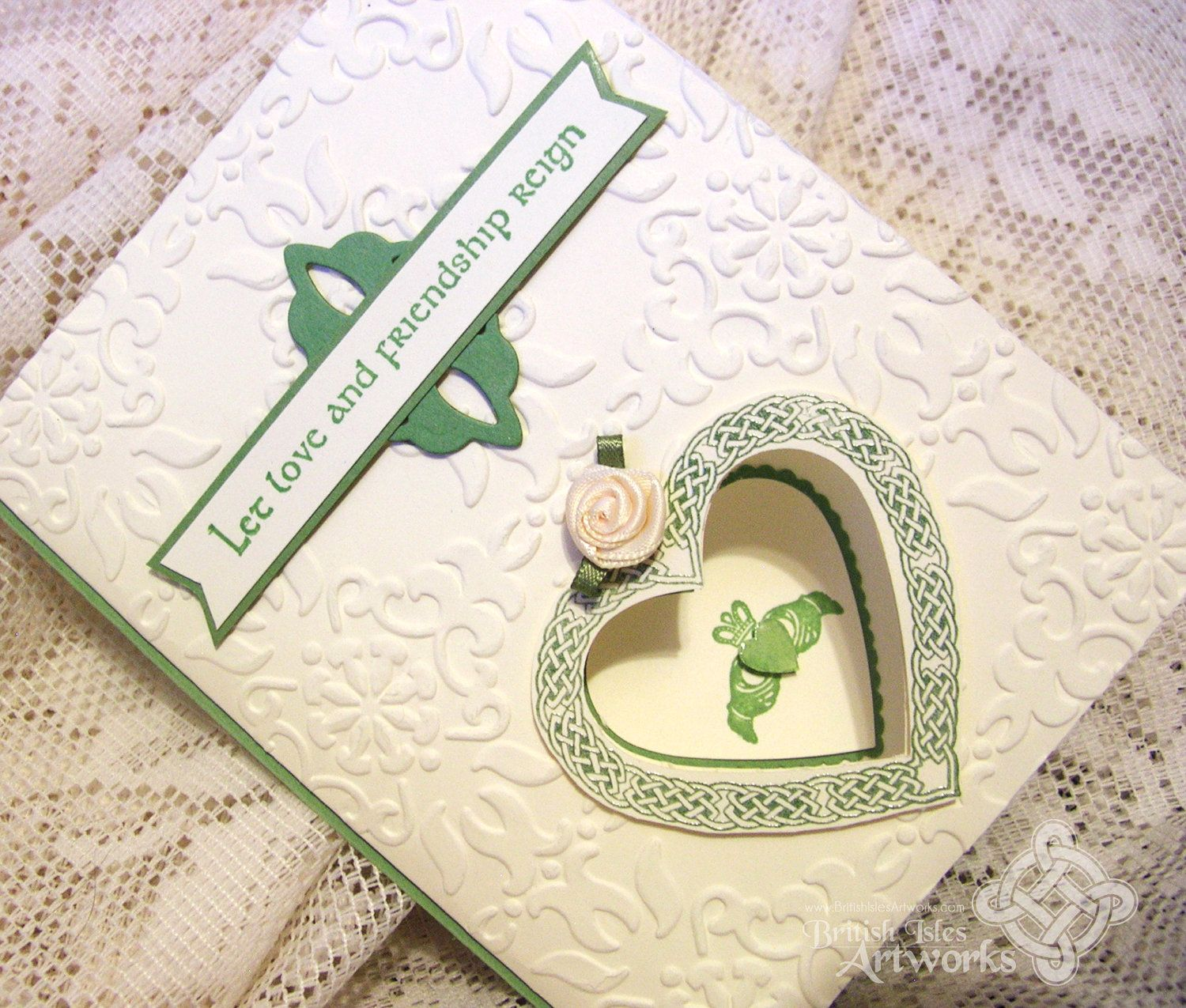 Celtic wedding card with claddagh and celtic knot heart