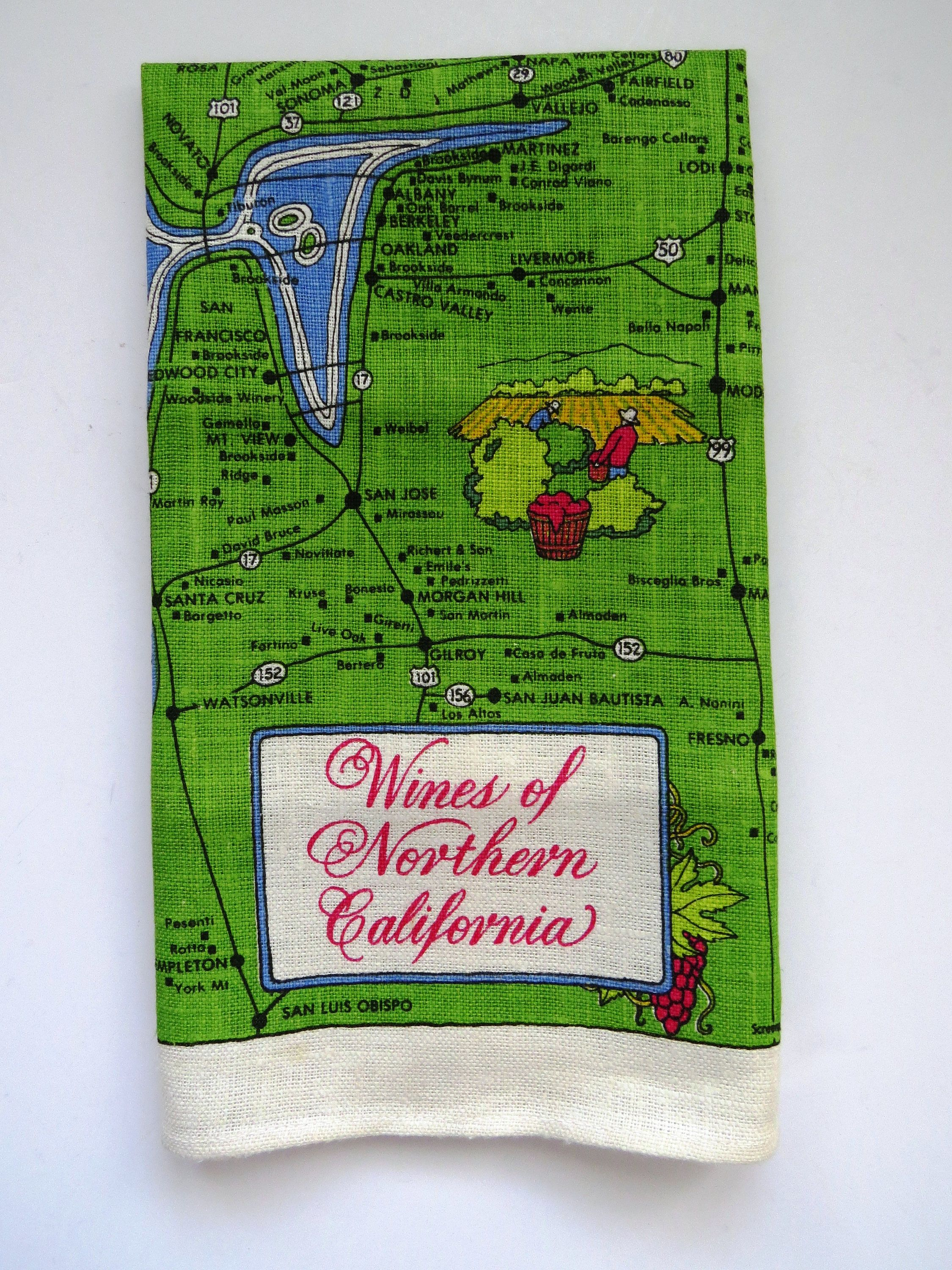 Wines of Northern California Towel by Kay Dee - Map of California Wall Hanging Barware - Collectible - Vineyards Wine Lover Gift Fathers Day by shabbyshopgirls on Etsy