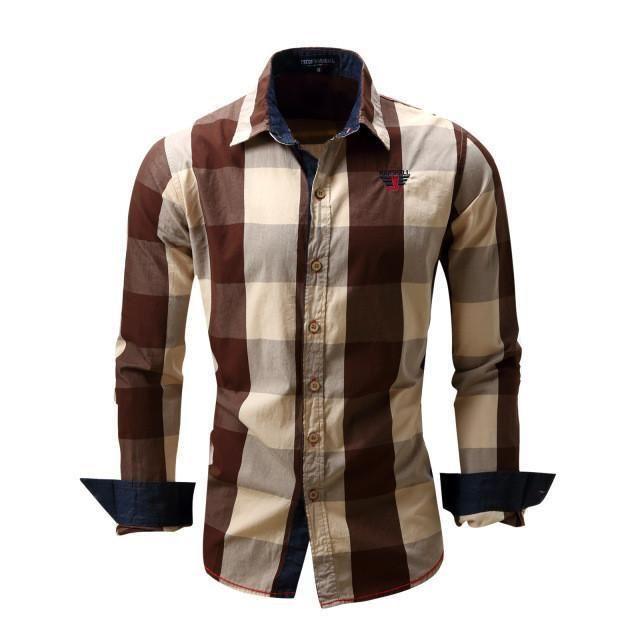 Men's Casual Shirts, Plaid Shirts, Red, Blue, Black, Brown