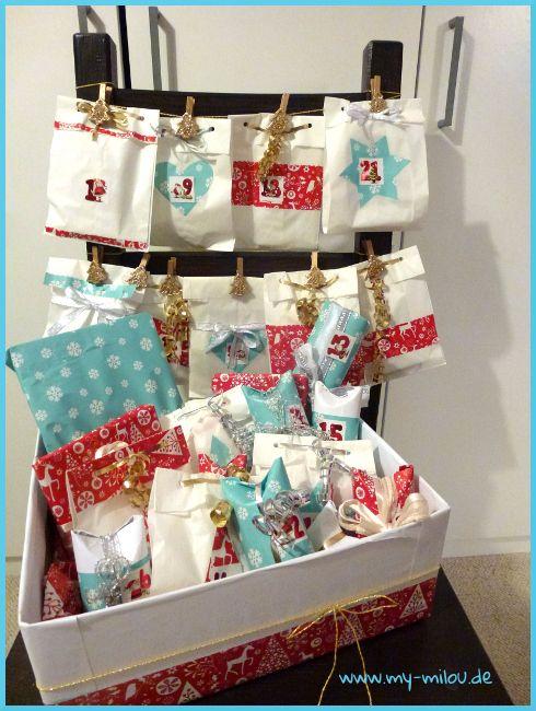 unser adventskalender mit weihnachtspapier dekorierte butterbrott ten und. Black Bedroom Furniture Sets. Home Design Ideas