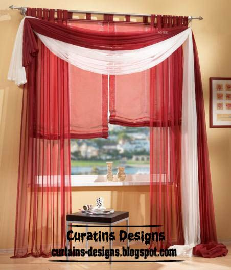 American Red Curtain Scarf From Chiffon Fabric Scarf Curtains