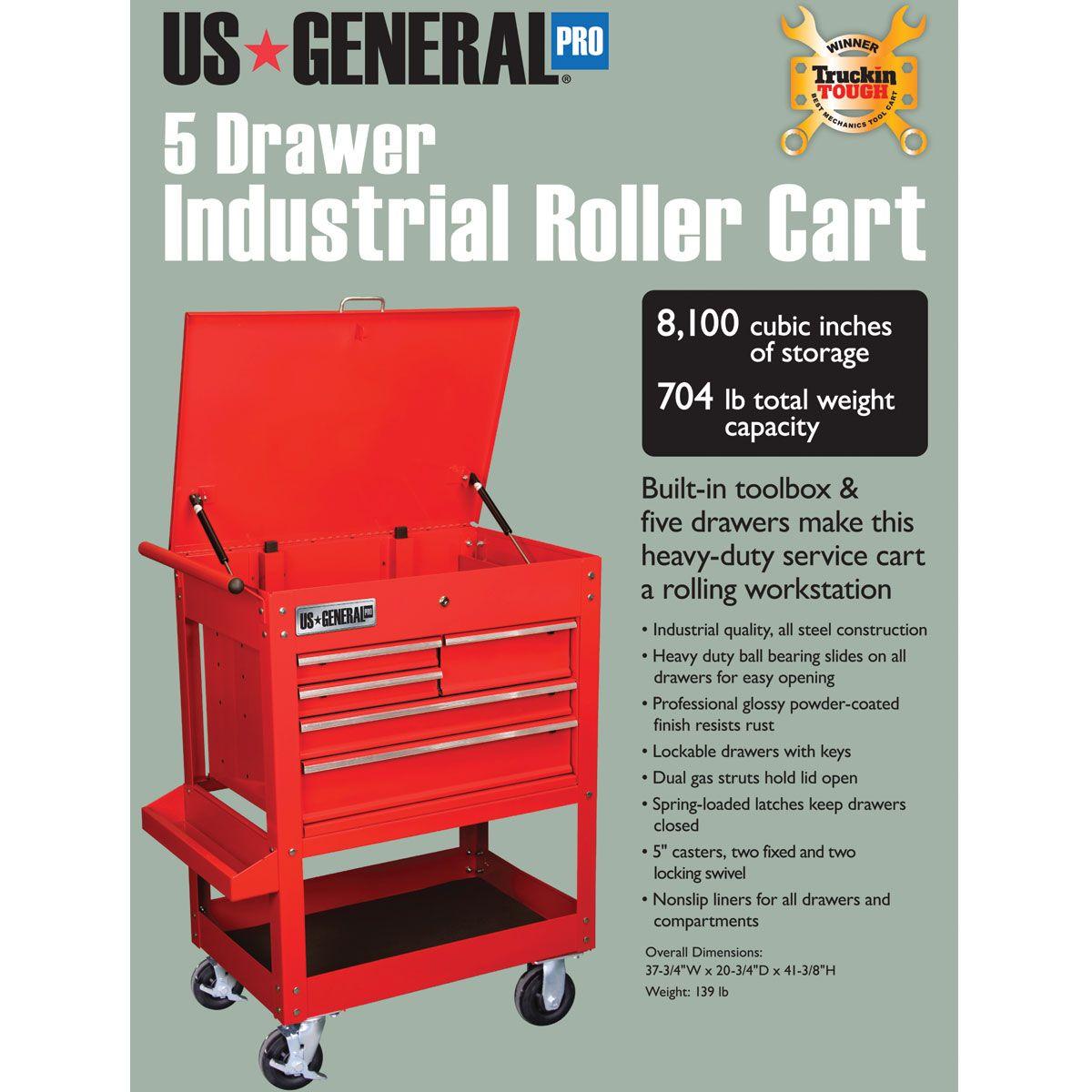 Five Drawer Service Cart Tool Cart Working Area Tool Organization