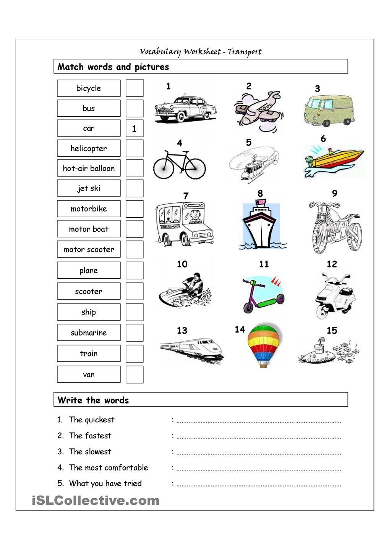 Worksheets Esl Vocabulary Worksheets vocabulary matching worksheet transport pinterest transport
