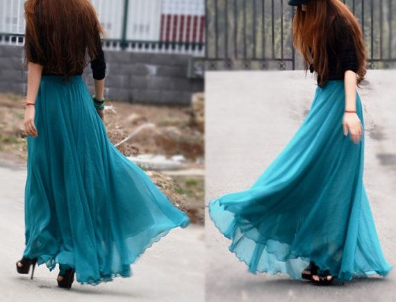 Ladies Women's Maxi Skirt Long Skirt Chiffon Skirt with lining ...