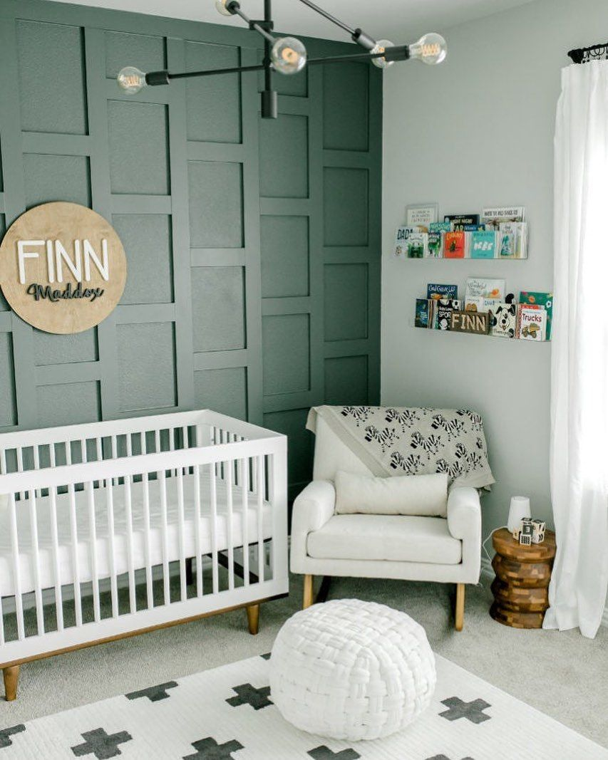 Project Nursery On Instagram I Knew Wanted Three Things A Feature Wall Subtle Hints Of Sports In 2021 Accent Room Design Green Baby