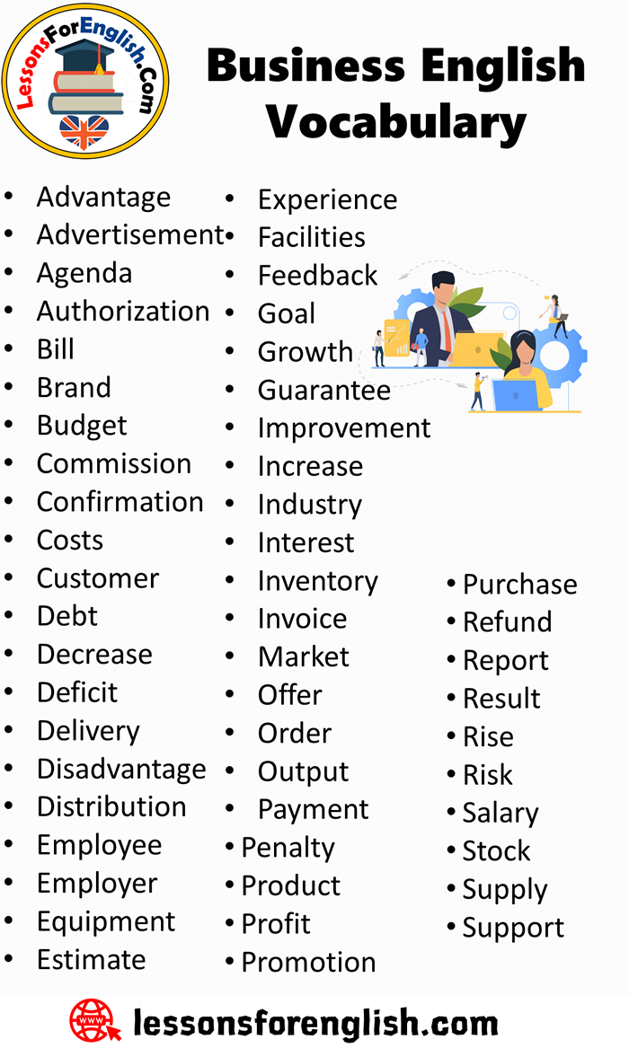 Detailed Busines English Vocabulary List Advantage Advertisement Agenda Authorization Bill Bran Word Learn Call Center Paraphrasing
