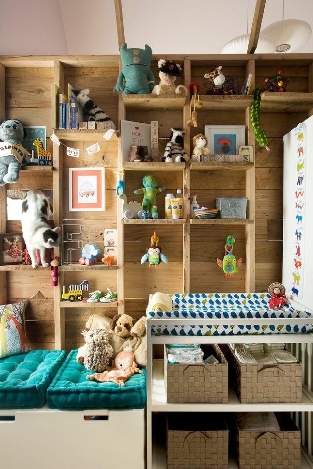 Kinderzimmer Wohnwand Holz Regale Spielzeuge Stauraum Awesome Kid