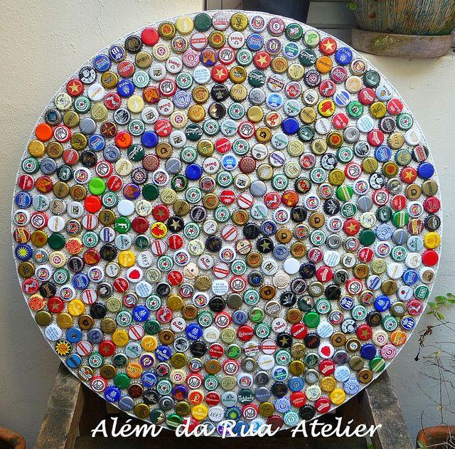 Tampo De Mosaico Feito Com Tampinhas De Cerveja Tampas De