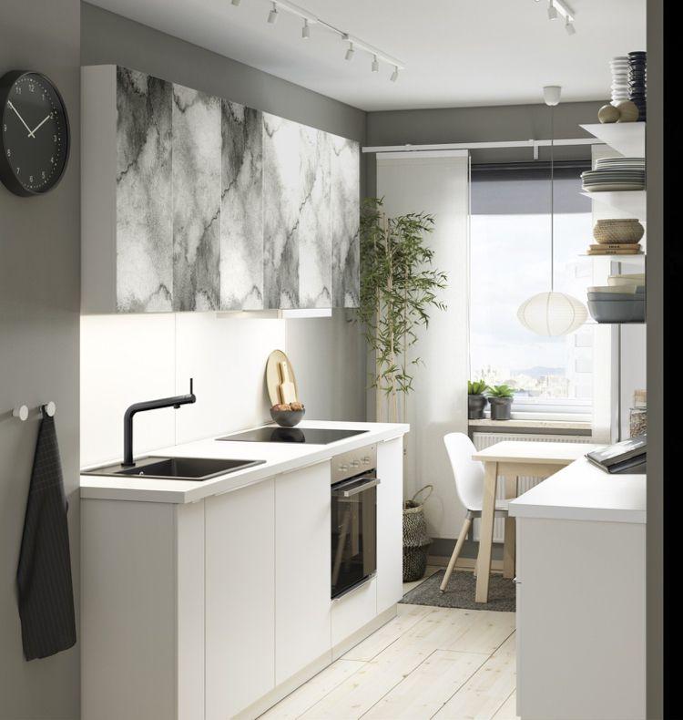 kalvia tür grau designer look kleine küche schwarz weiss - küche schwarz weiß