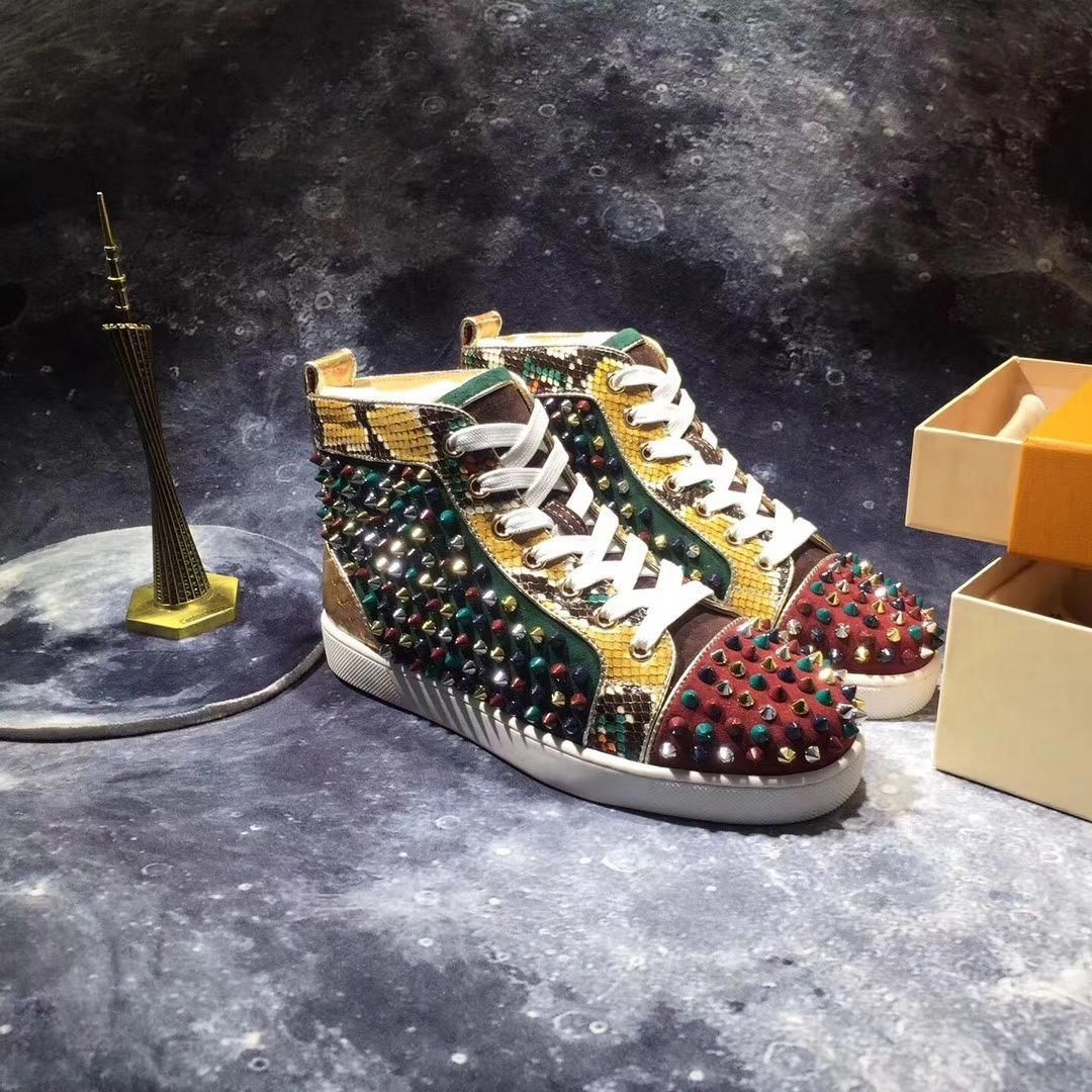 best website 5f606 55557 Christian Louboutin High Top Colorful Spikes Men Shoes ...