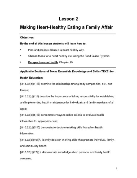 Making Heart-Healthy Eating a Family Affair Lesson Plan Lesson - health lesson plan