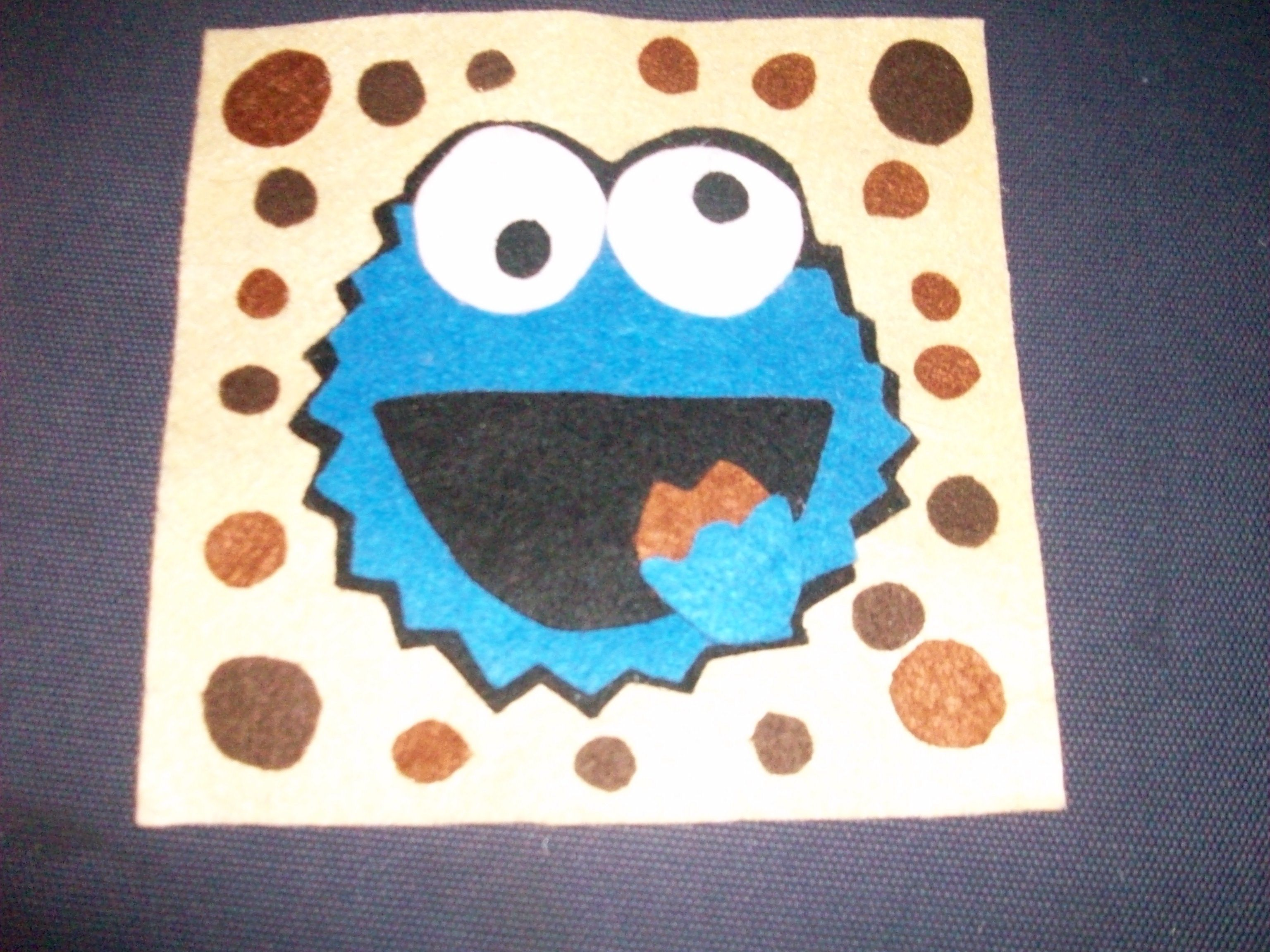 Cuadro de fieltro el monstruo de las galletas para cortar y hacer ...